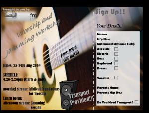 Worship & Jamming Workshop Flyer